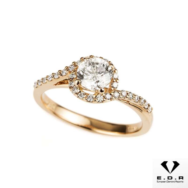 18k Rose Gold Round Brilliant Cut Diamond Ring 0.71ct F/SI2